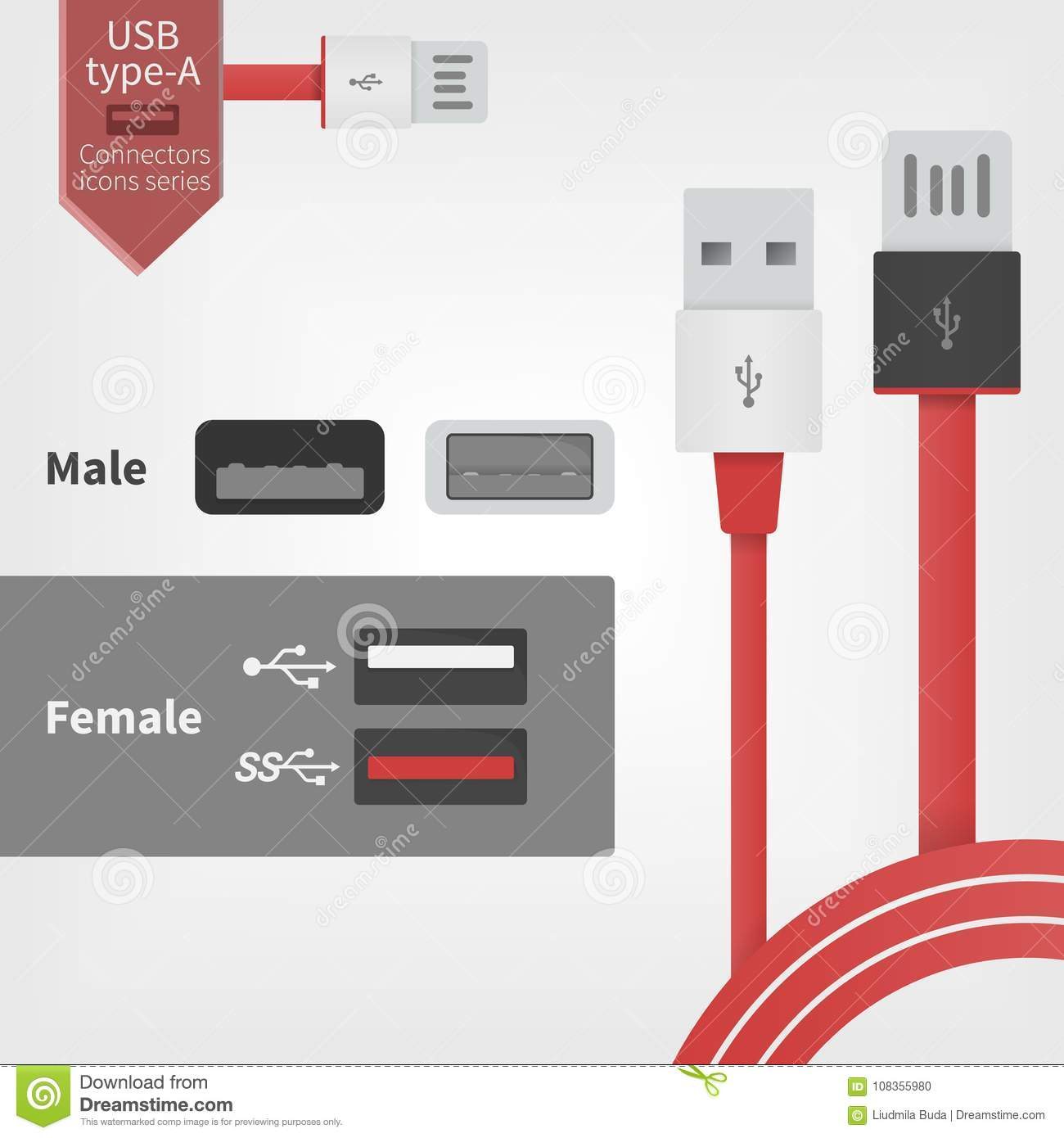 Usb Socket Outlet And Connector Wires Vector Illustration In Modern Wiring To Red Style