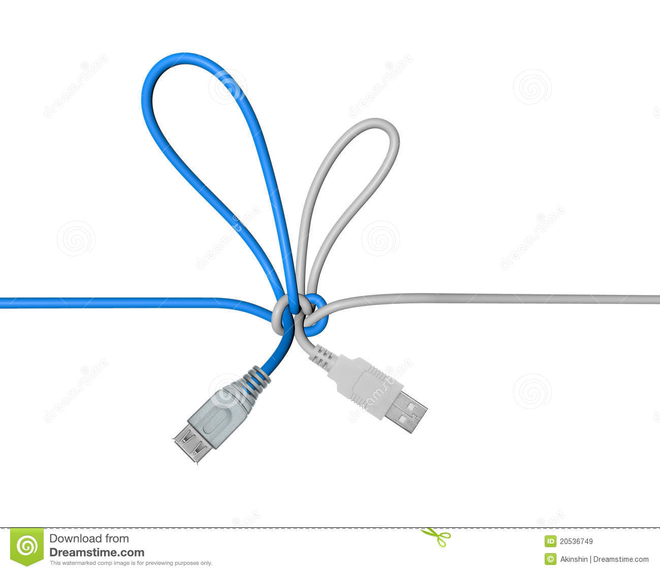 usb wire tied in a knot royalty free stock images image 20536749. Black Bedroom Furniture Sets. Home Design Ideas