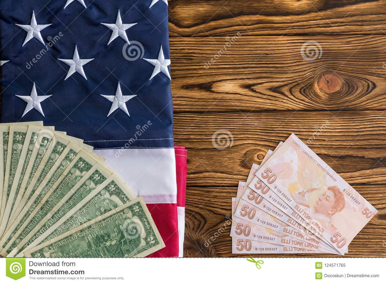 USD and Turkish Lira with the American flag
