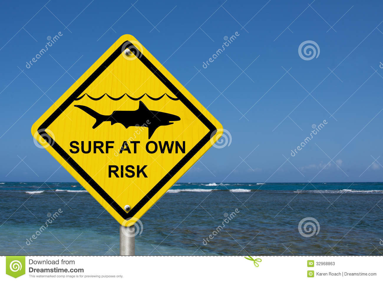 Use Caution When Surfing Because Sharks Are Present Stock