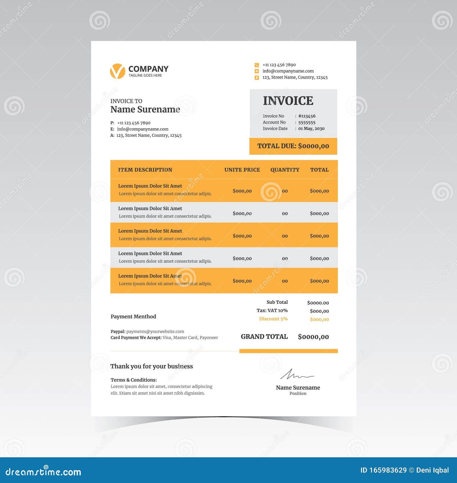 Modern Invoice Template Vector Design Stock Vector Illustration Of Template Branding 165983629