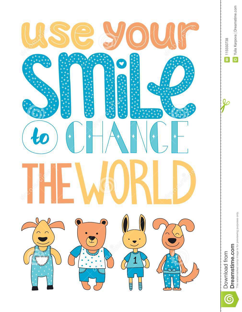 Use Your Smile To Change The World Hand Drawn In Vector Stock