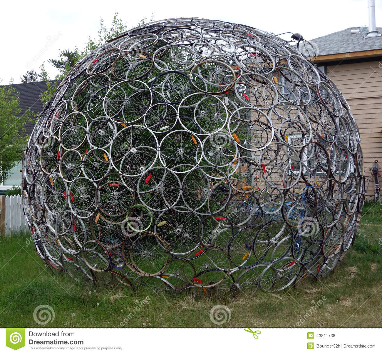 used bicycle tires forming a globe like sculpture stock photo image of bike grass 43811738. Black Bedroom Furniture Sets. Home Design Ideas
