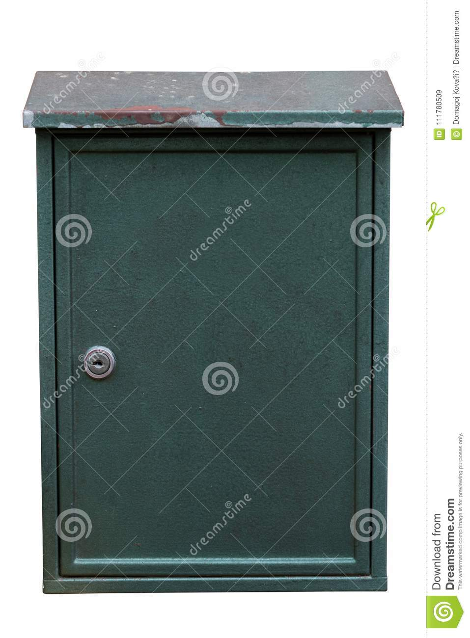 Used big dark green metal mailbox isolated on white background. Path saved
