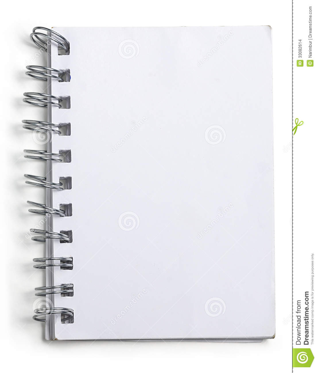 used blank note book with ring binder on white stock. Black Bedroom Furniture Sets. Home Design Ideas