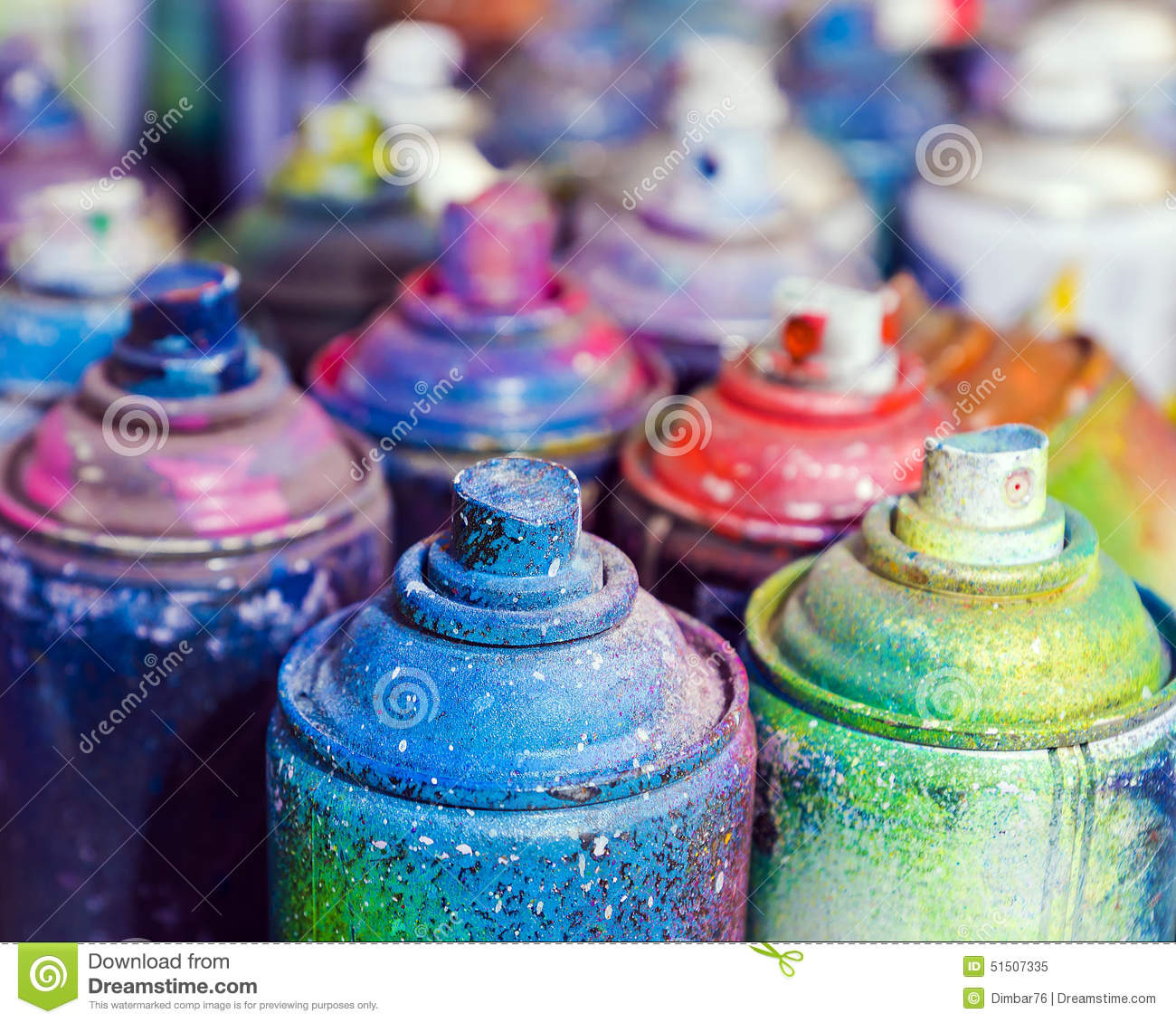 Used cans of spray paint stock image  Image of city, label - 51507335