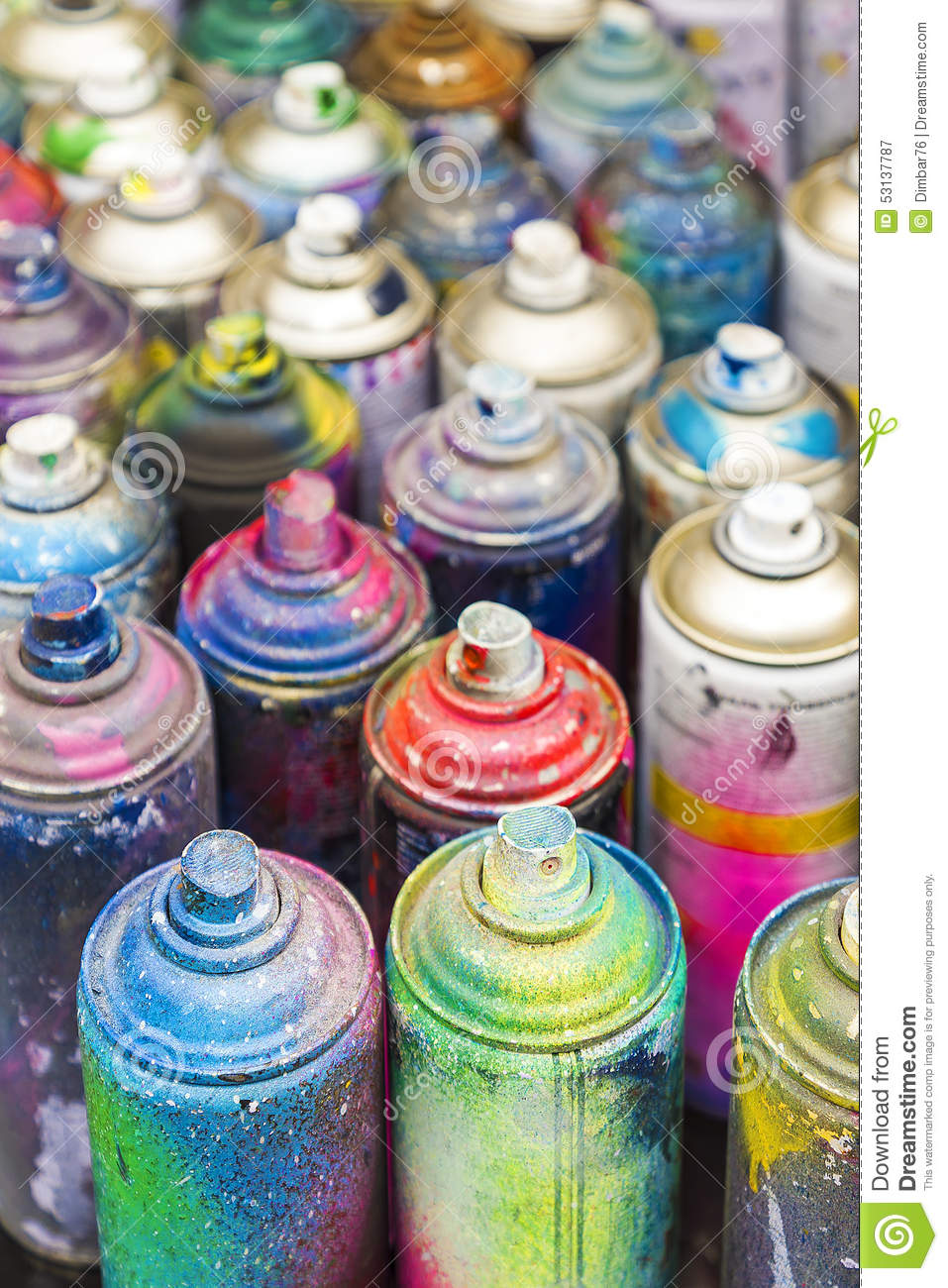 Used Cans Of Spray Paint Stock Image Image Of Image