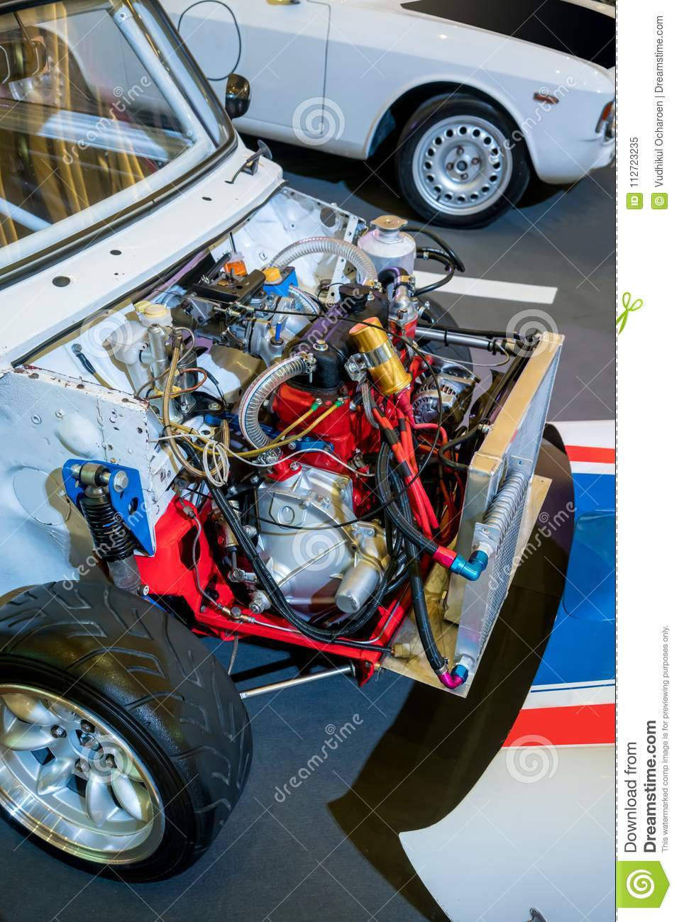Used car engine for display in exhibition