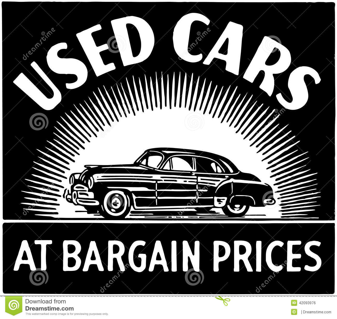 used cars at bargain prices stock vector image 42093976. Black Bedroom Furniture Sets. Home Design Ideas