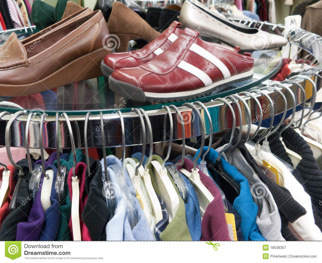used clothing and shoes at thrift store stock image