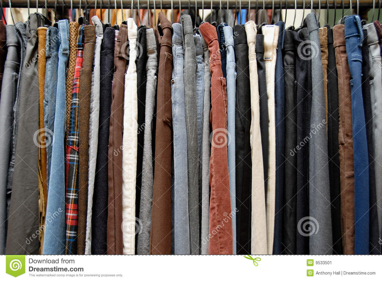 Stock Image: Used clothing on thrift store rack