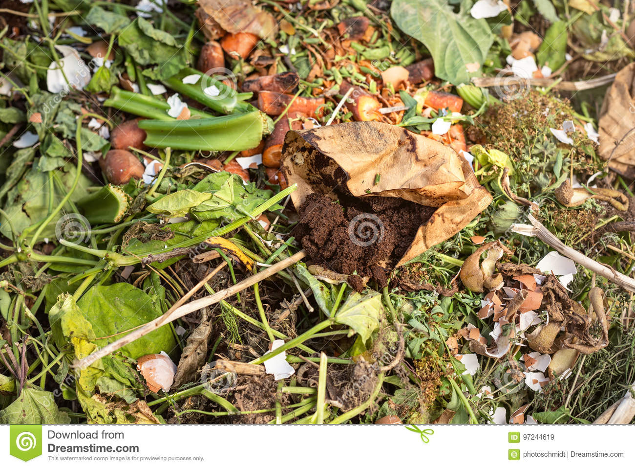 Used Coffee Grounds On A Compost Stock Image - Image of decaying ...
