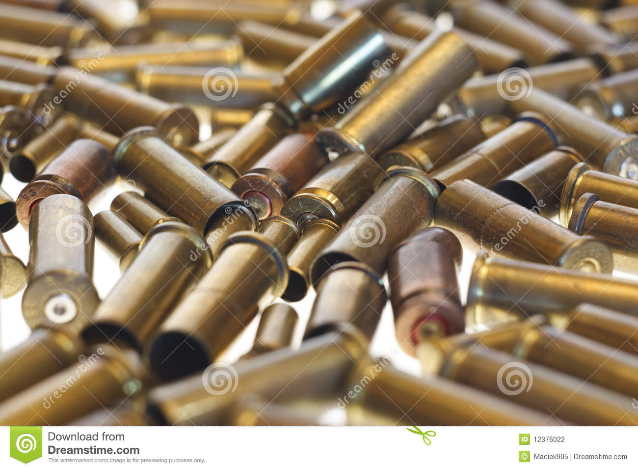 Used empty old bullet cartridges