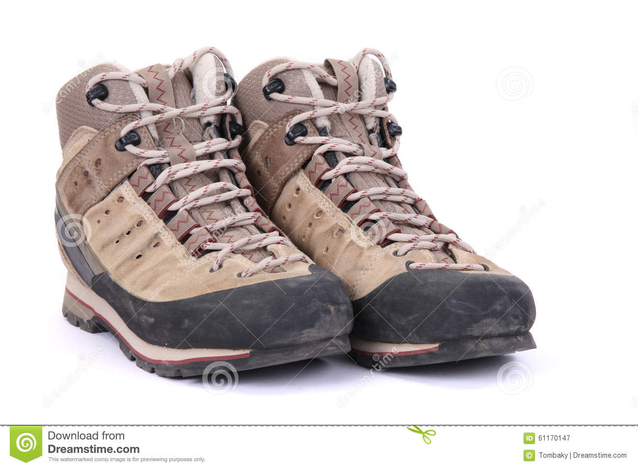 Used Hiking Boots Stock Photo - Image: 61170147