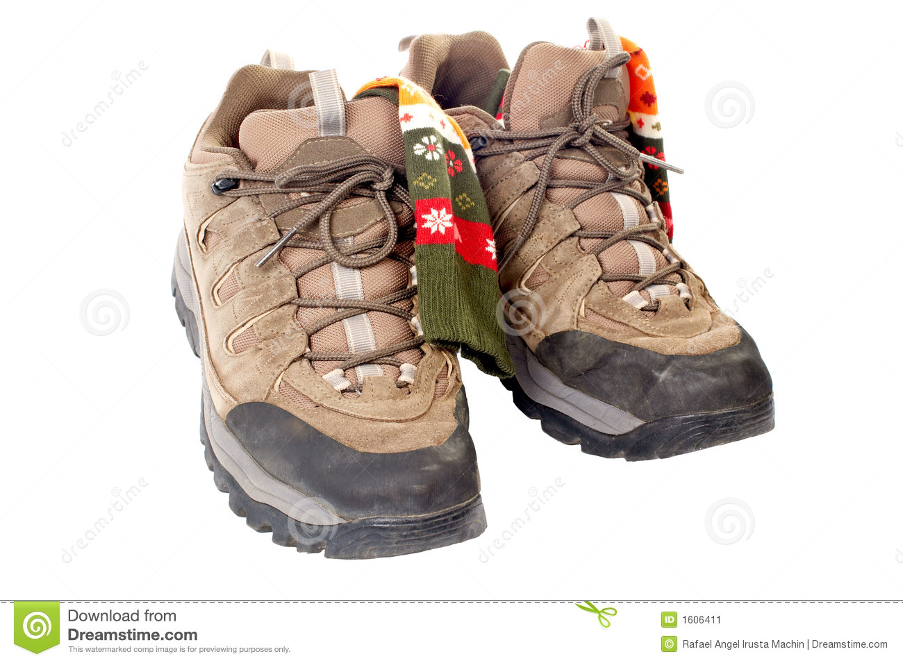 Used Hiking Boots And Socks Stock Image - Image: 1606411