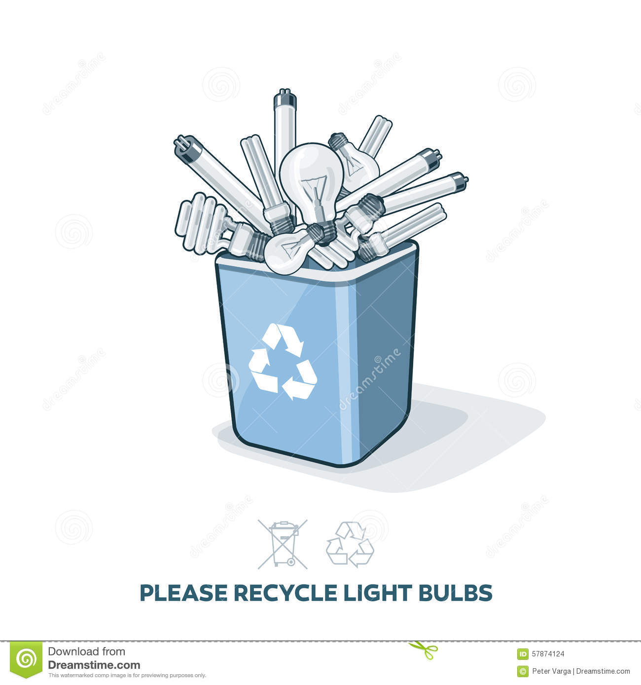 Used Light Bulbs In Recycling Bin Stock Vector