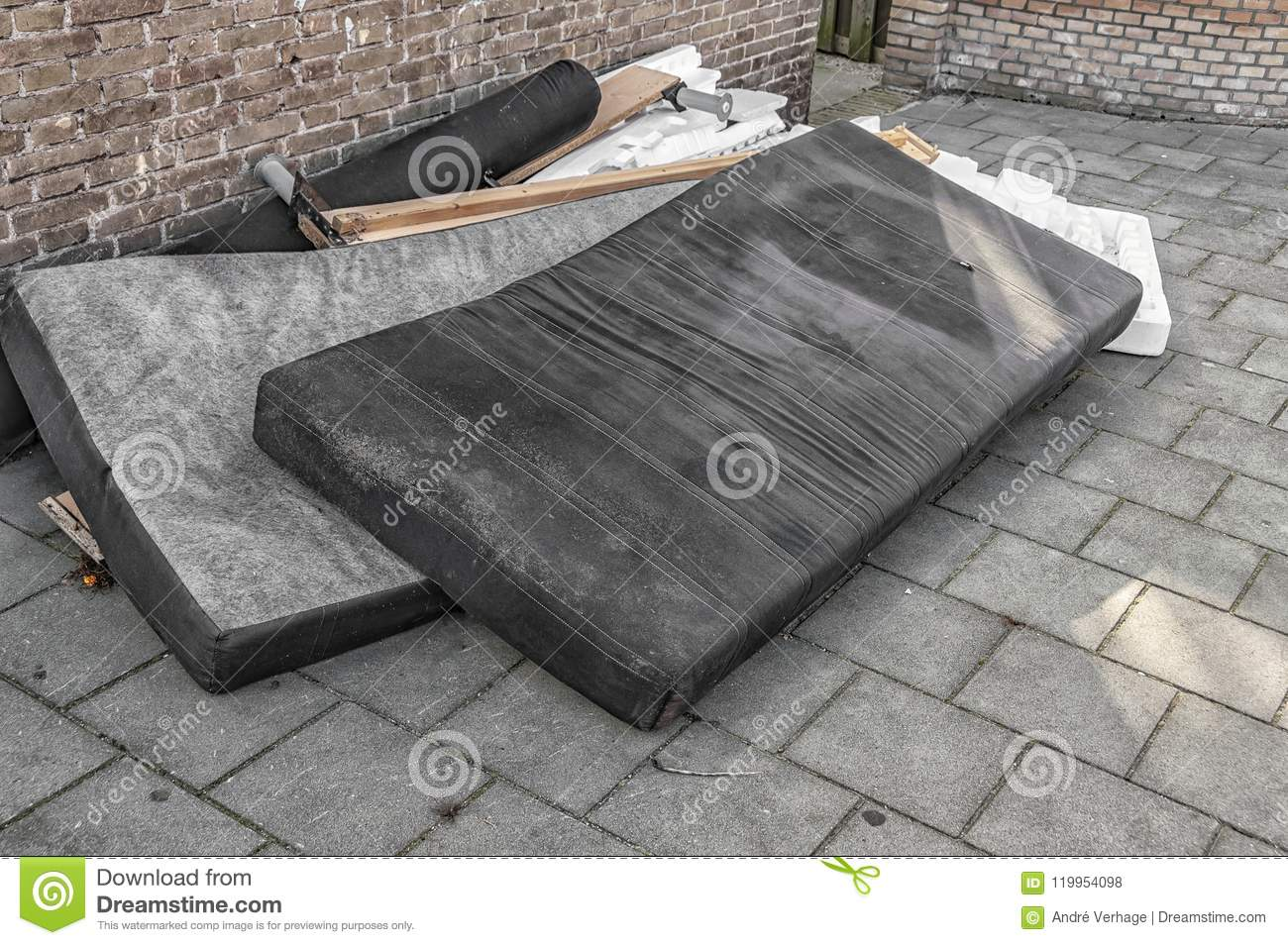 Used Mattresses Dumped On The Street Stock Photo - Image of ...