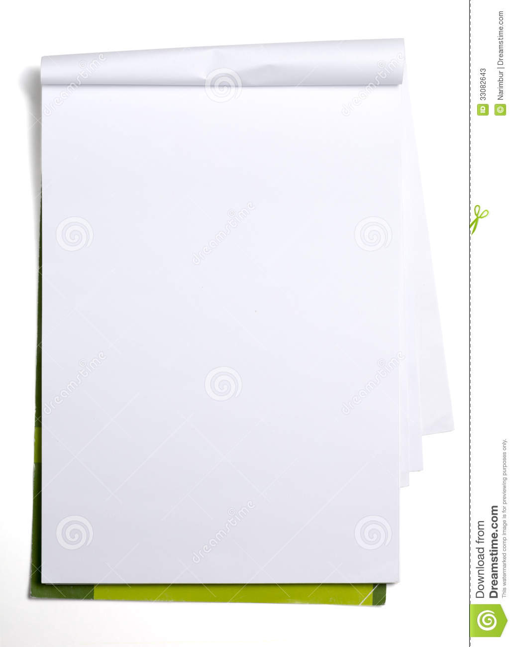 Used Old Blank Paper Tablet On White Stock Image Image 33082643