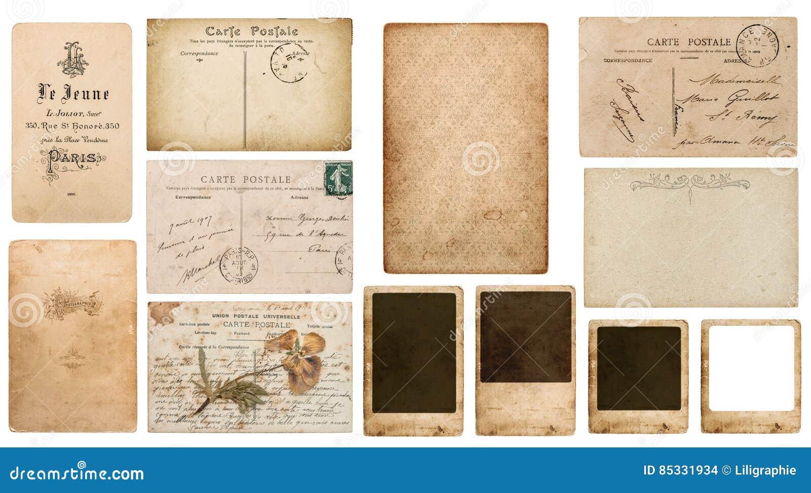 Postcard Carte Postale Photo Frame Cardboard Antique French De Visite Used Paper Pieces