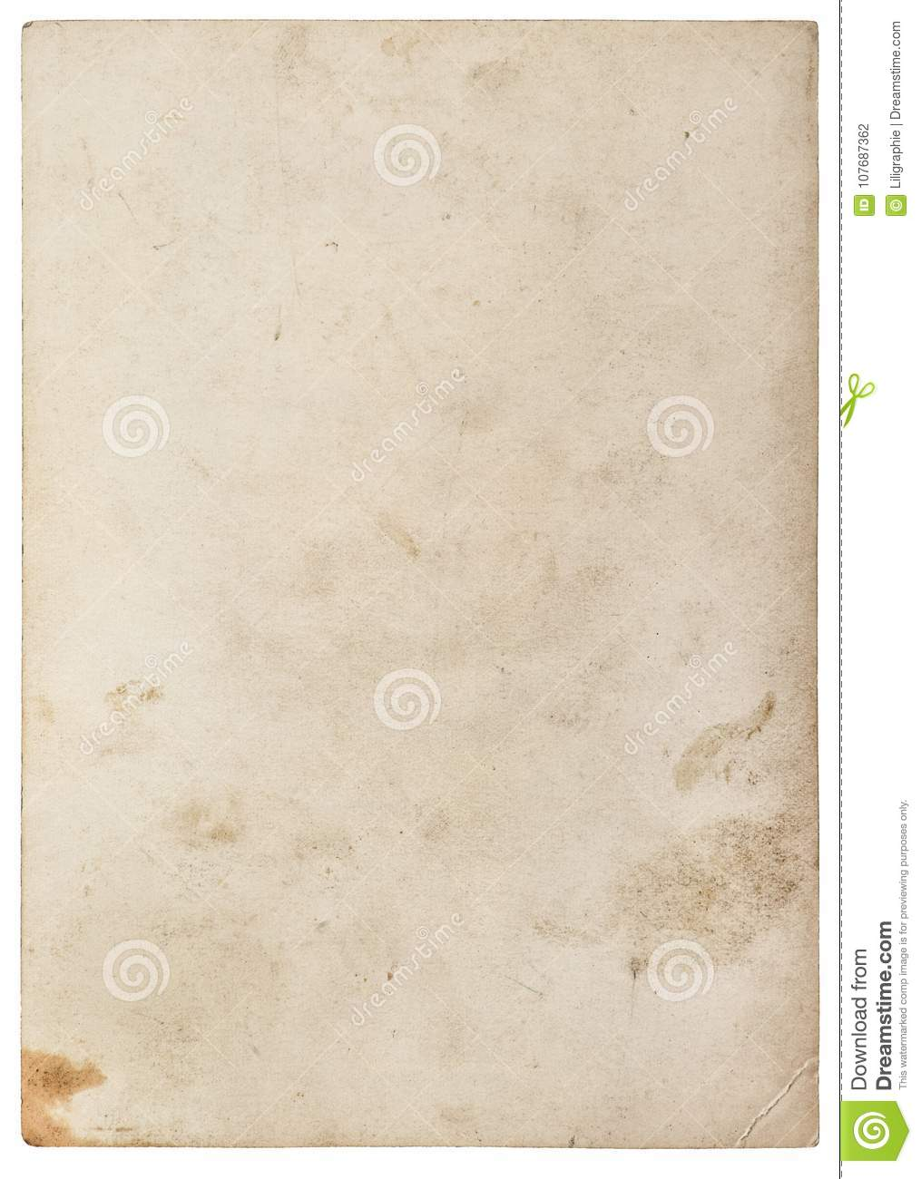 Used paper texture Worn sheet isolated white background