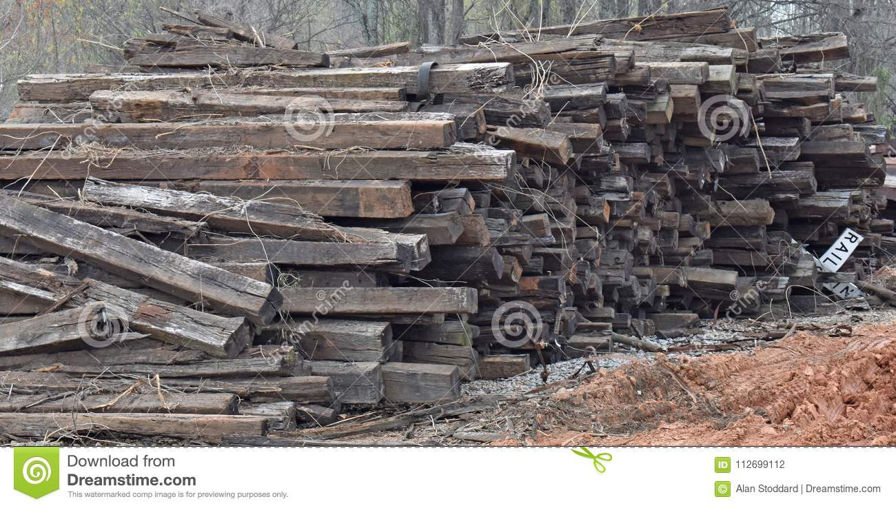 Railroad Ties Sit Awaiting Recycling Stock Photo - Image of