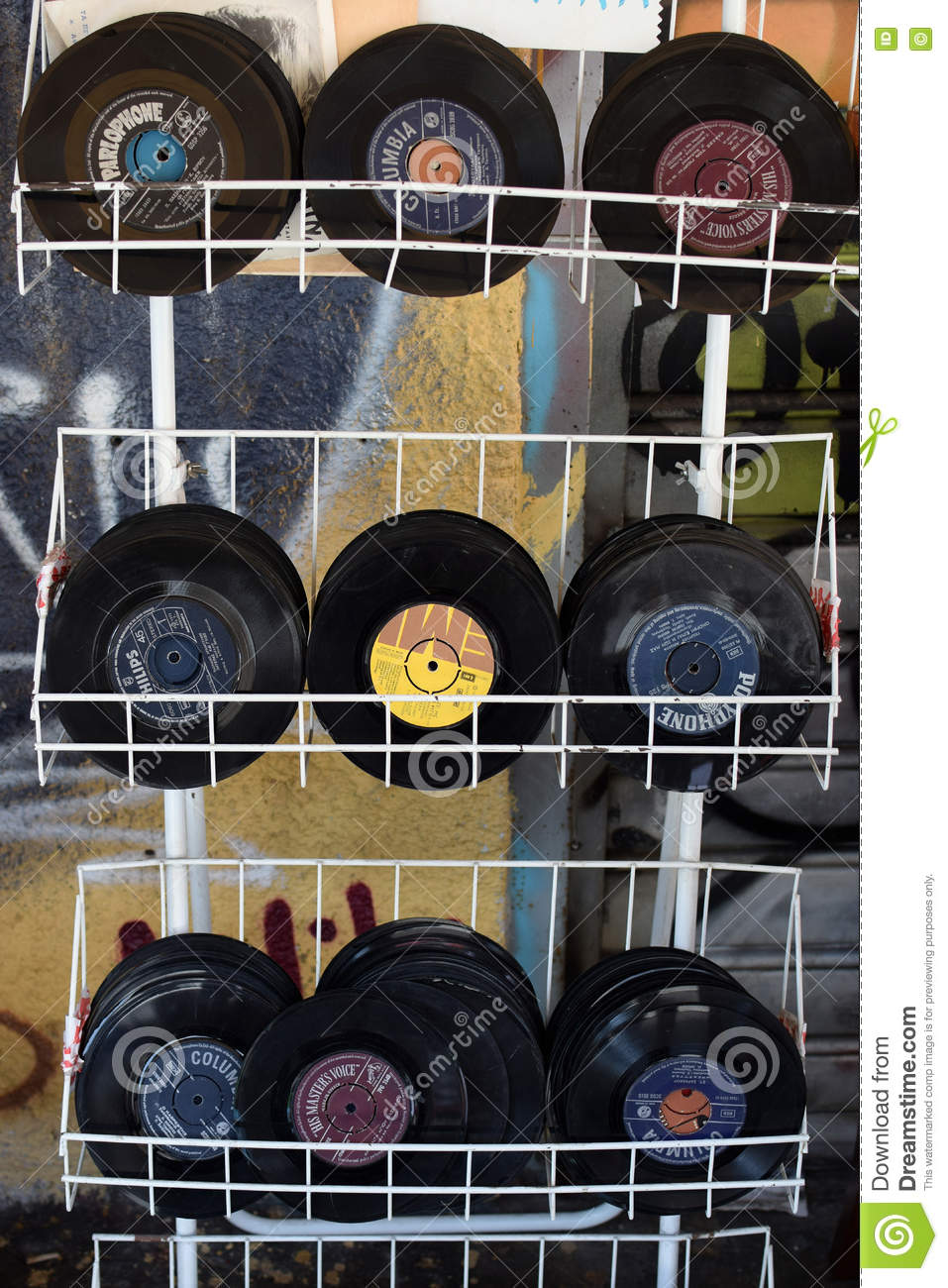 Used records vinyl singles editorial photography  Image of black