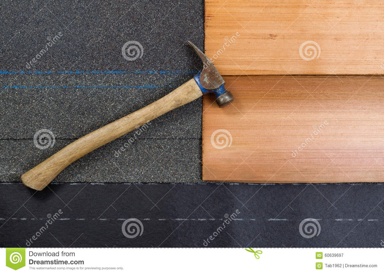 Used Roofing Hammer With New Shingles Of Composite And