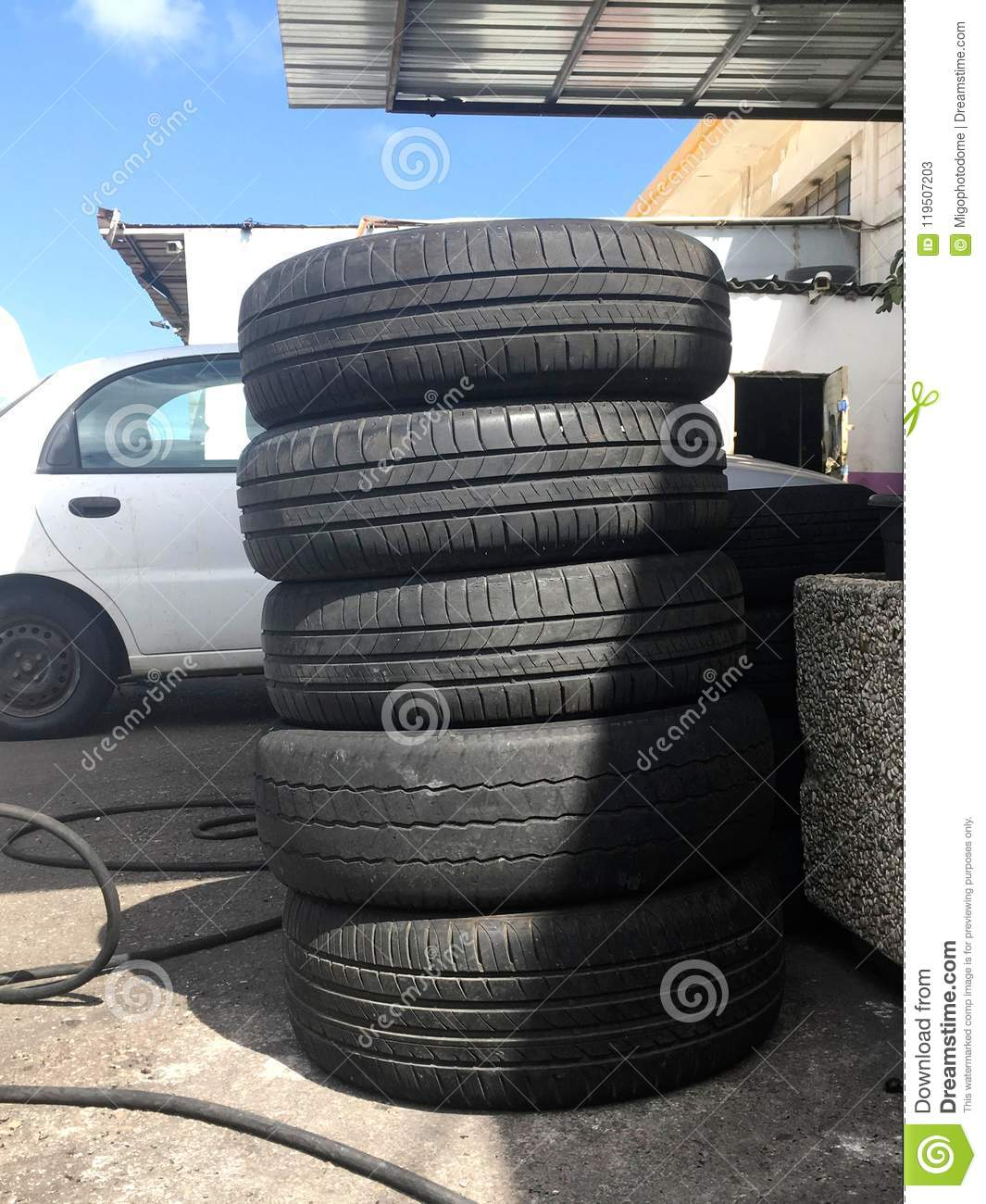 Car Workshop Near Me >> Old Tires In The Car Workshop Stock Image Image Of