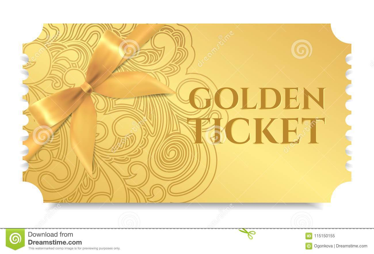 gold ticket golden token with bow ribbon tear off ticket coupon
