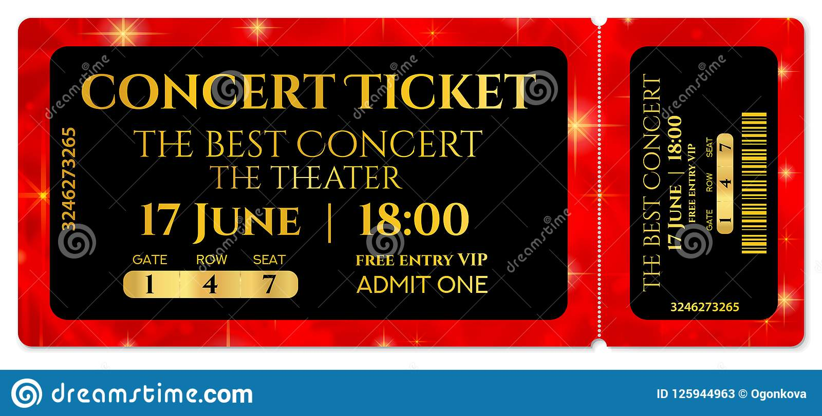 ticket template  concert ticket with stars tear