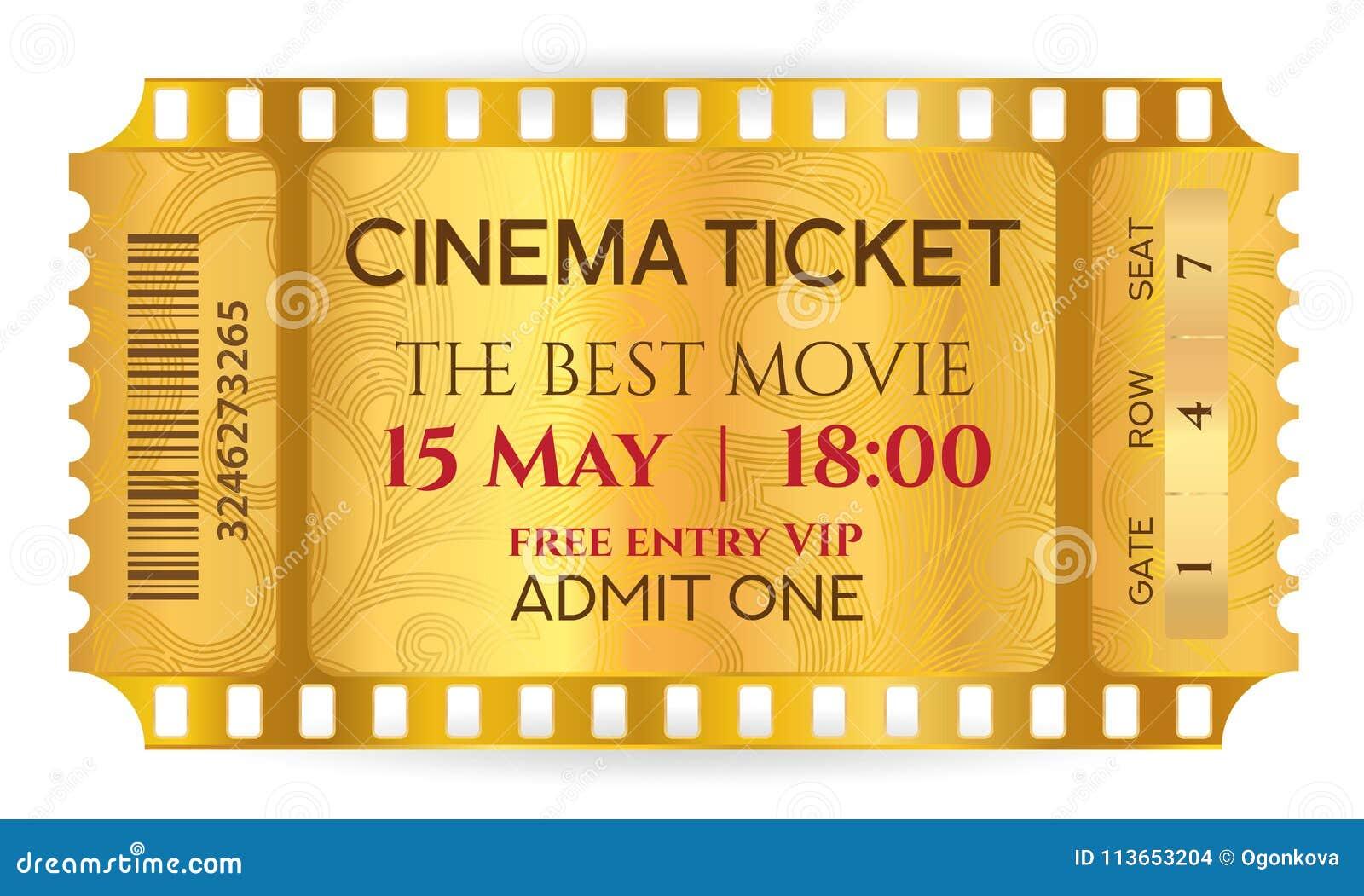 cinema ticket golden ticket token template tear off ticket film