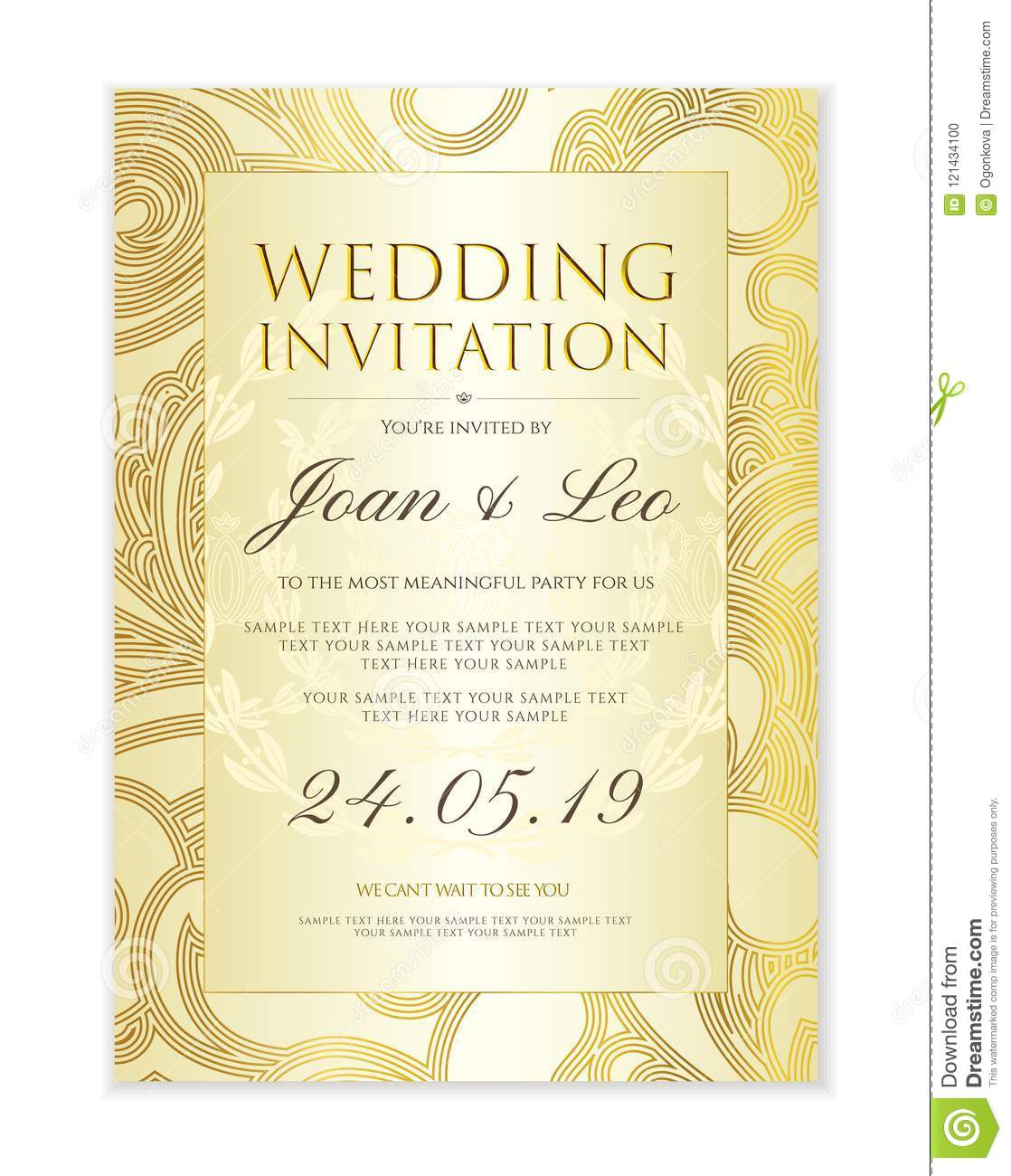 Wedding Invitation Design Template Save The Date Card. Classic White ...