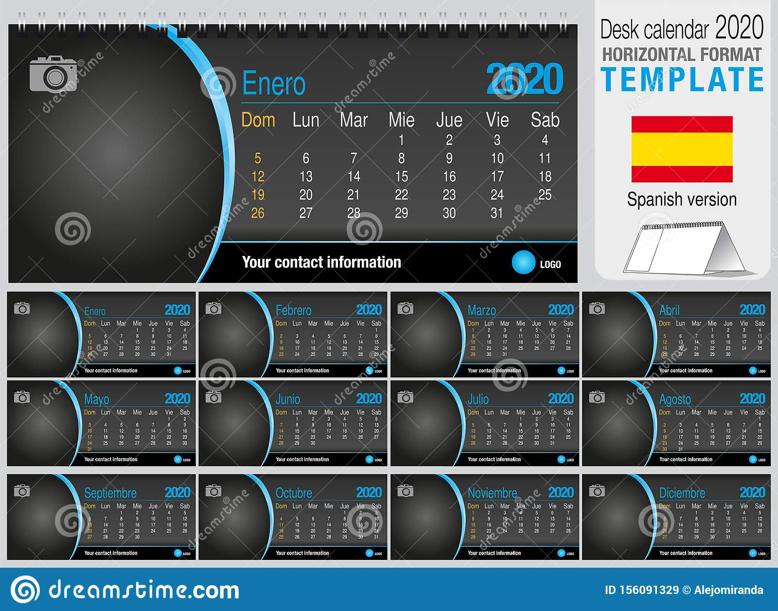 Useful desk triangle calendar 2020 template on black background, with space to place a photo. Size: 22 cm x 10 cm. Format