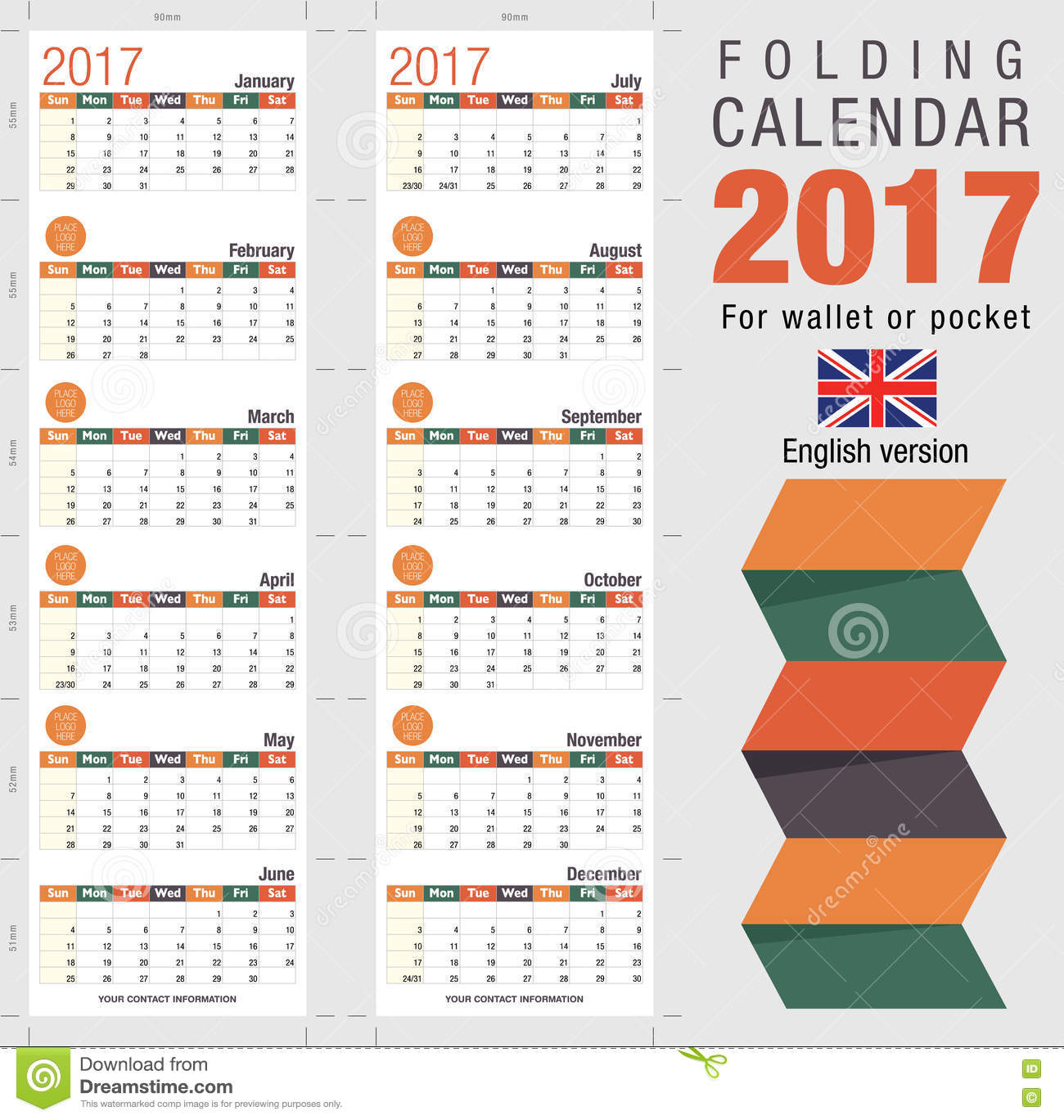 Useful Foldable Calendar 2017. Open Size: 90mm X 320mm Stock ...