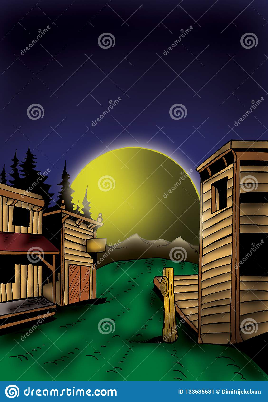 High Quality Illustration Of Wild West Landscape Cover