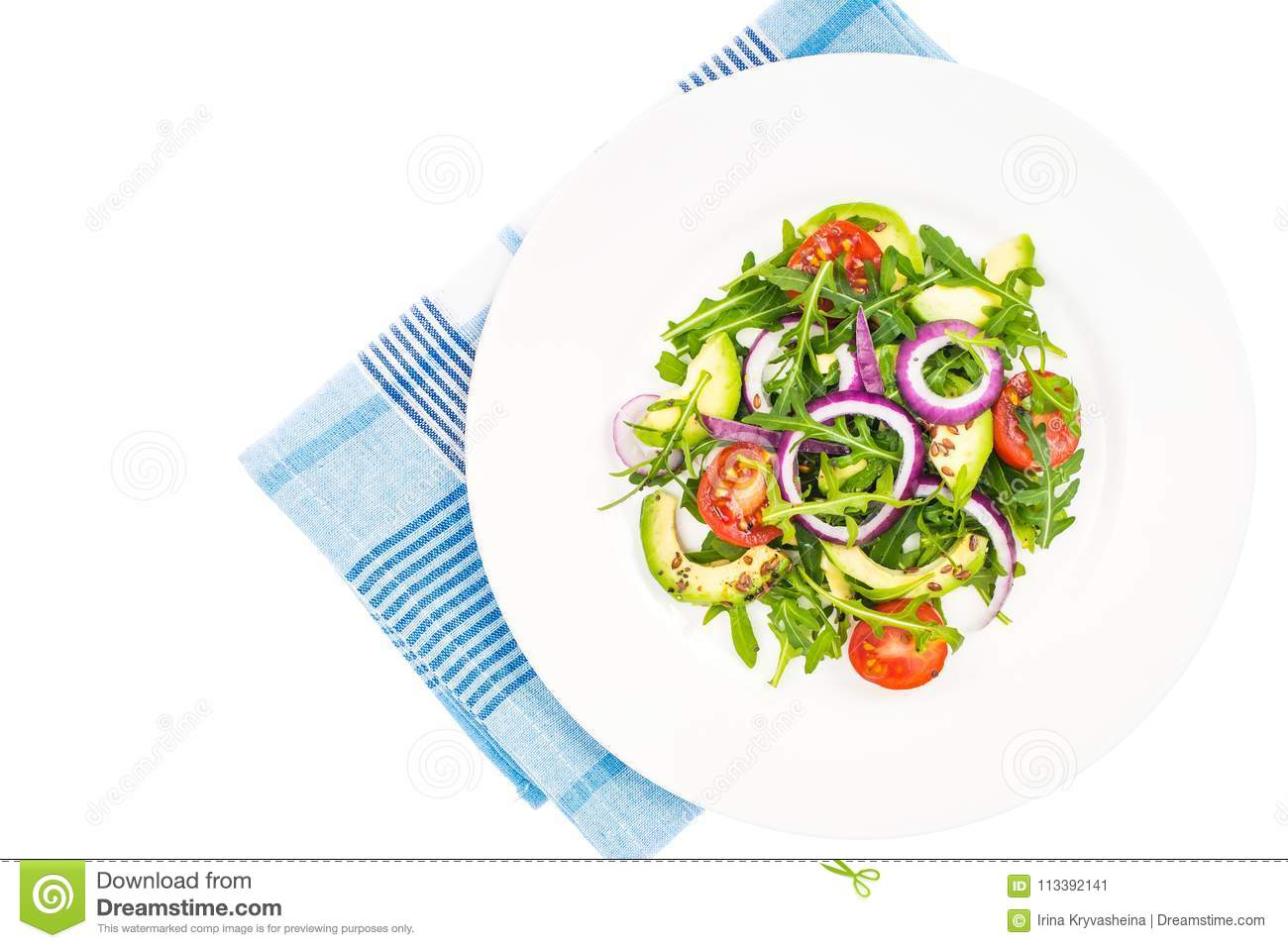 Useful salads with avocado and fresh vegetables. The concept of healthy diet