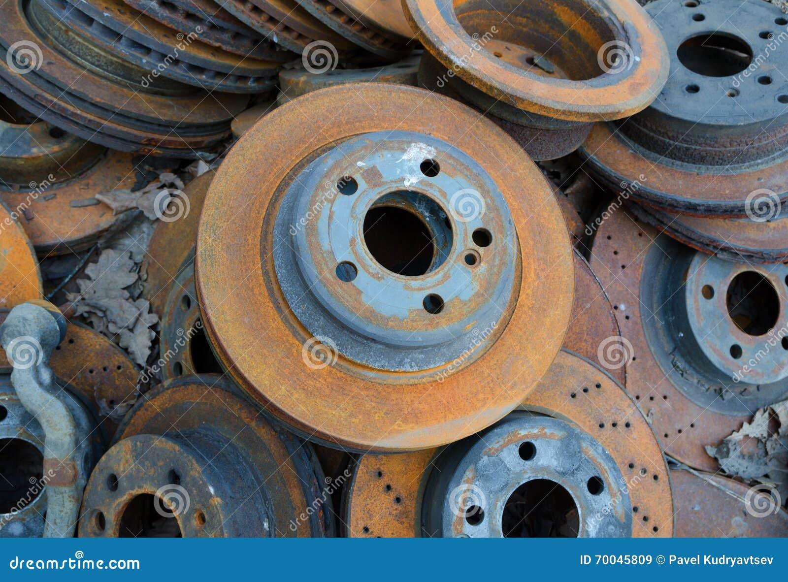 Useless, Old Rusty Brake Discs Stock Image - Image: 70045809