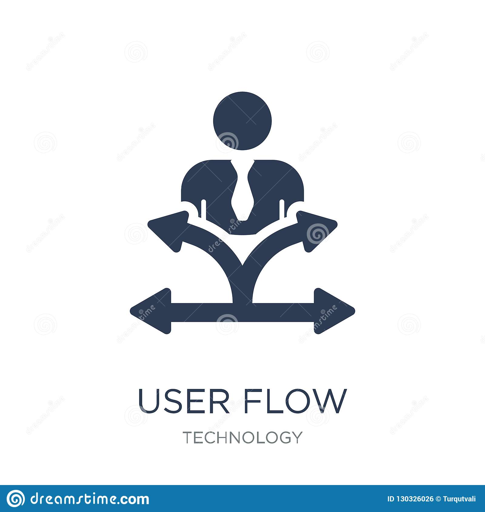 User flow icon. Trendy flat vector User flow icon on white background from Technology collection