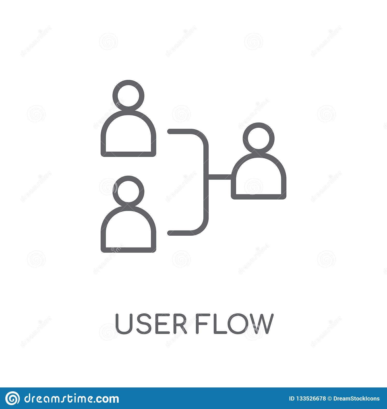 User flow linear icon. Modern outline User flow logo concept on