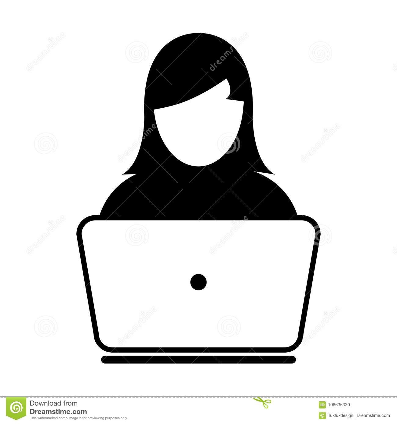 e7fc290bbcd2b User Icon Vector With Laptop Computer Female Person Profile Avatar for  Business and Online Communication Network in Glyph Pictogram Symbol  illustration