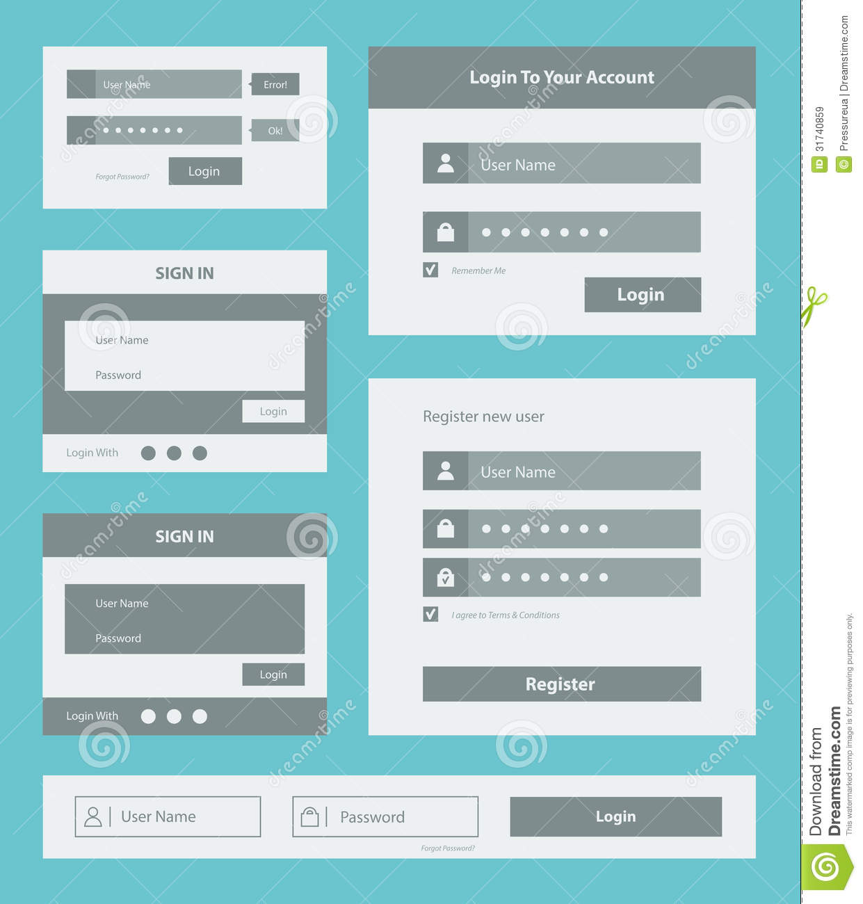 User interface form set stock vector image of form for User interface design document template