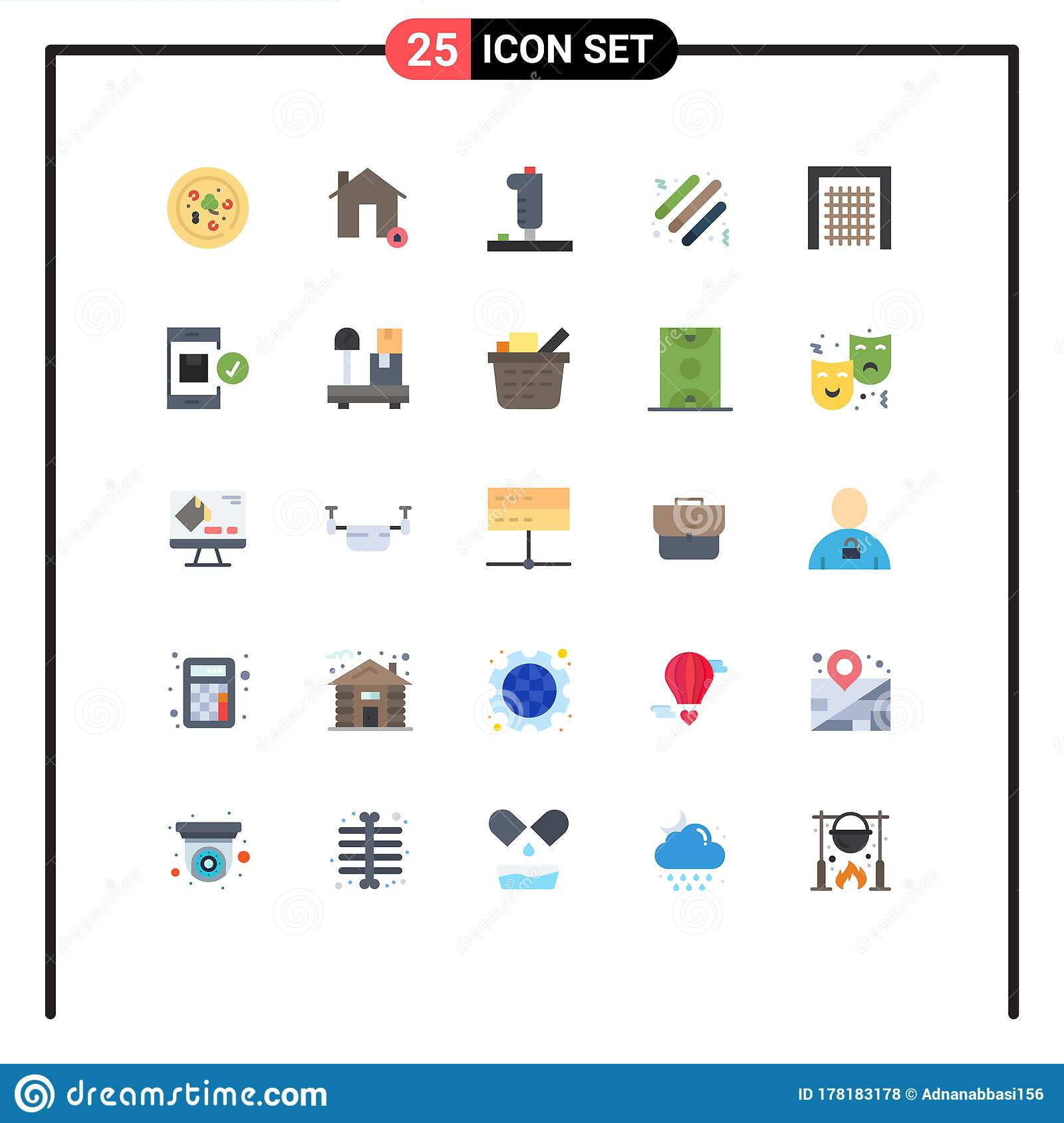 User Interface Pack Of 25 Basic Flat Colors Of Goal Light Stick Controller Party Drum Stock Vector Illustration Of Application Gate 178183178