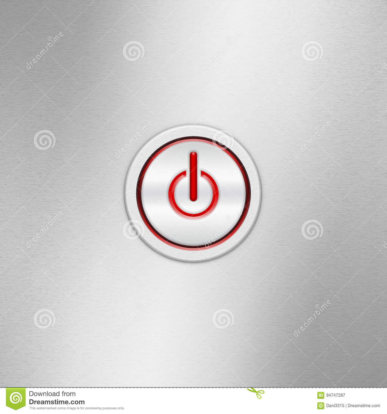 User Interface Switch Button On/Off. Power Button On A Brushed ...