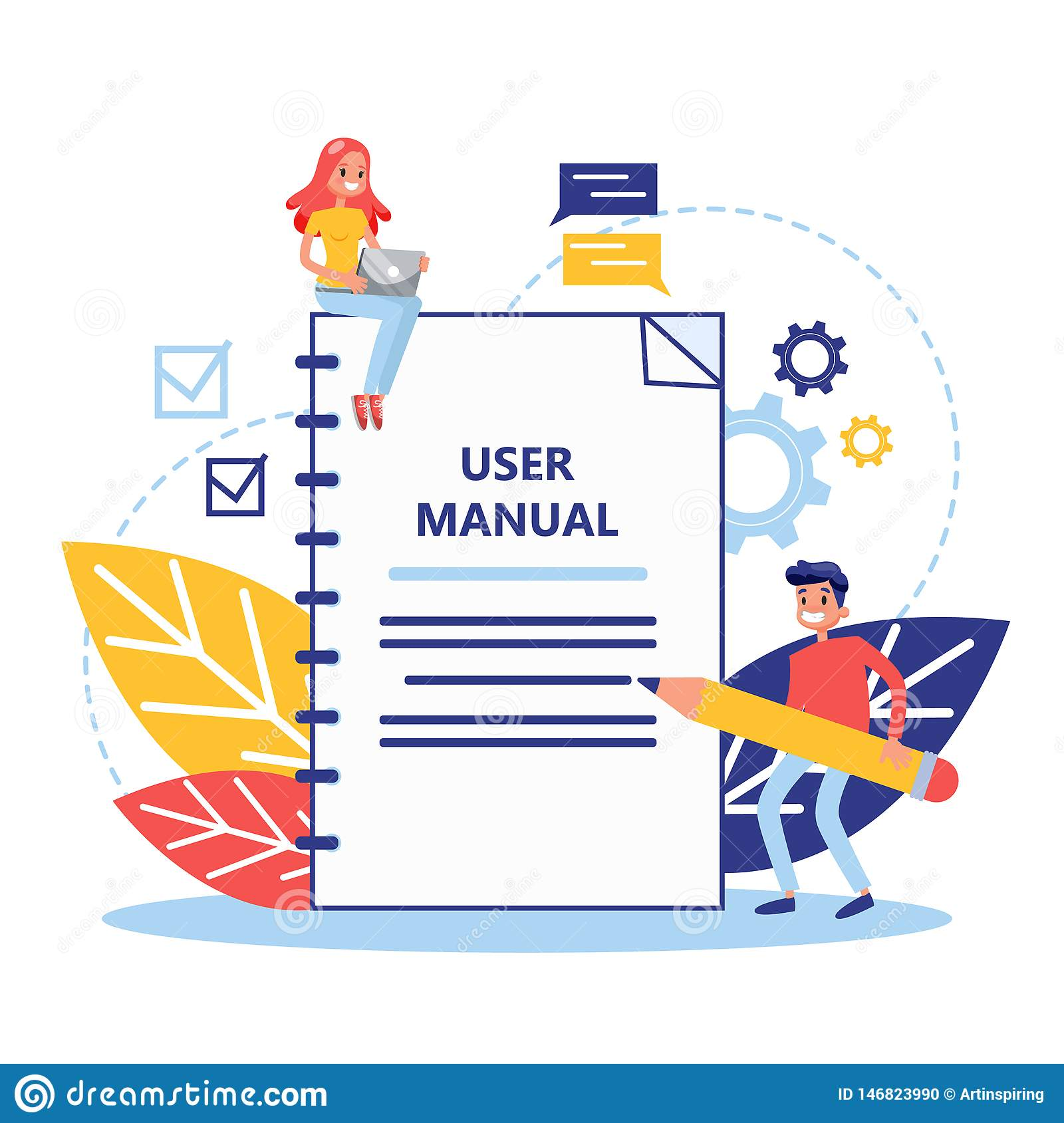 User Manual Concept People With Guide Instruction Or Manual Guide