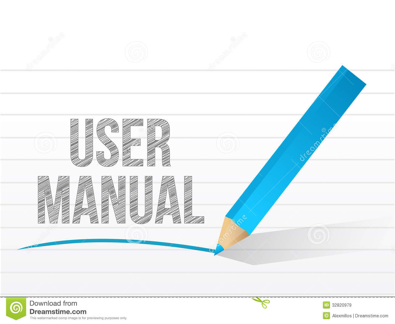 User manual written on a notepad paper stock illustration for Vector canape user manual
