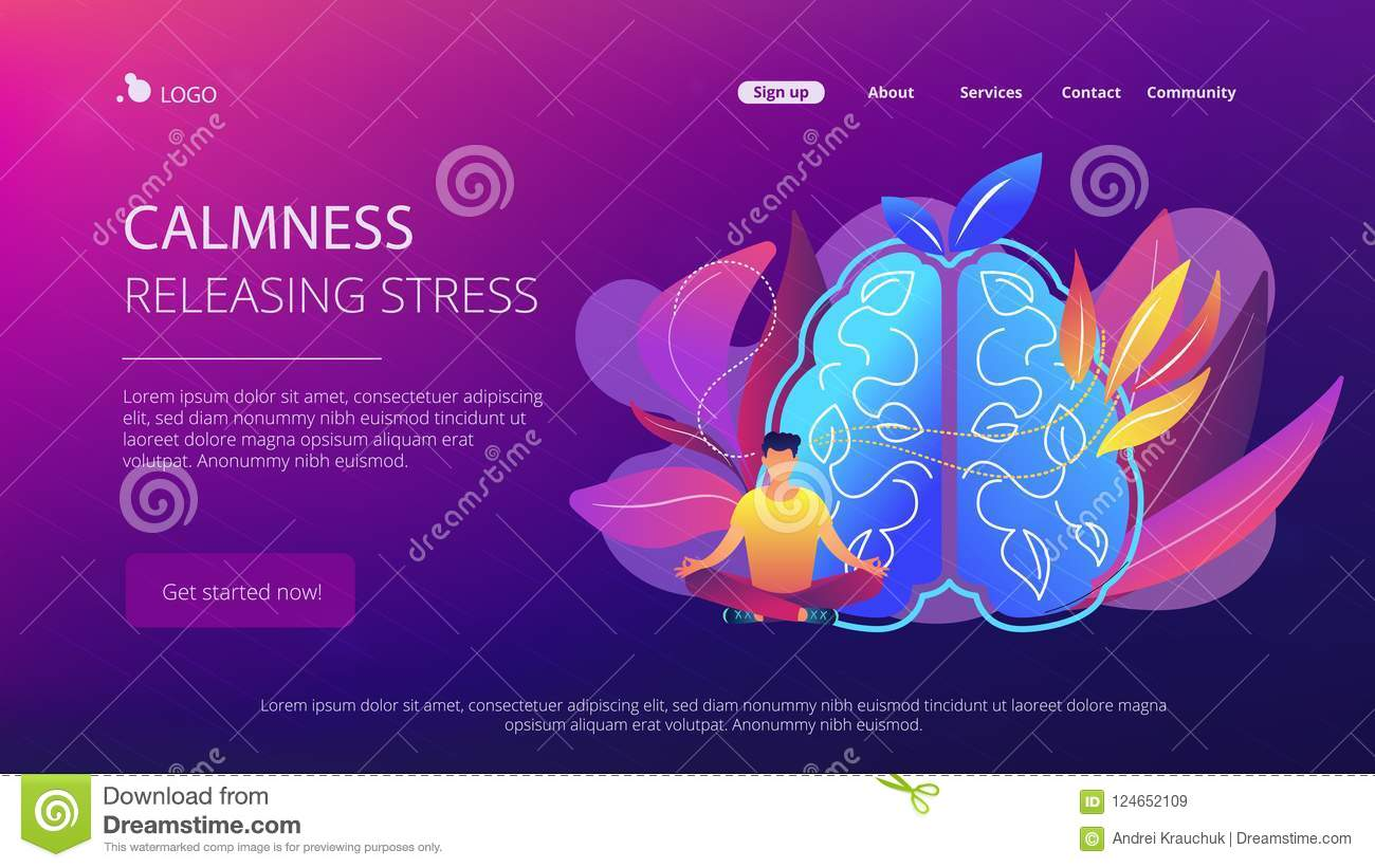 Calmness and releasing stress concept landing page.