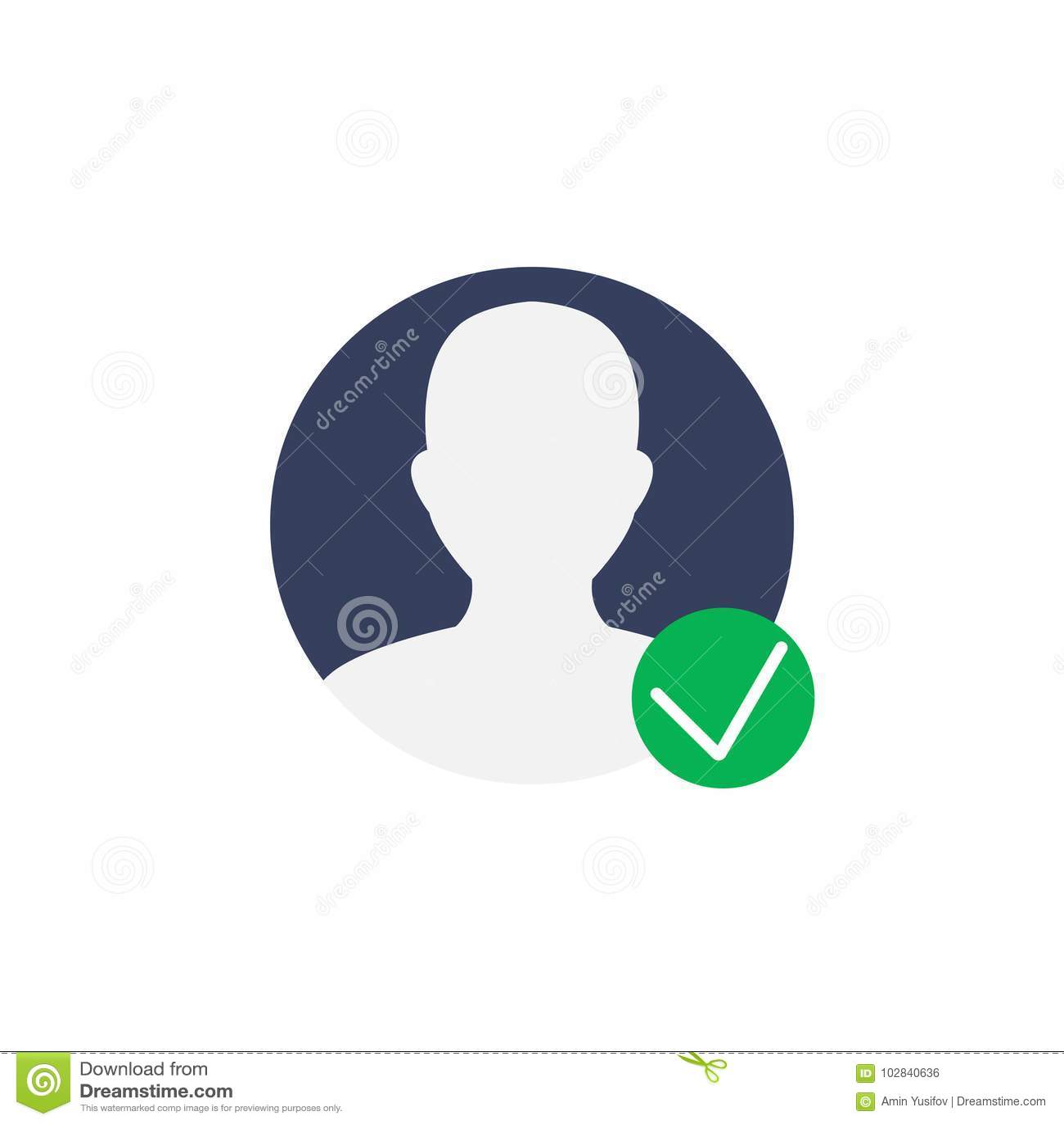 User Profile Symbol With Check Mark Verified Account Icon Vecto