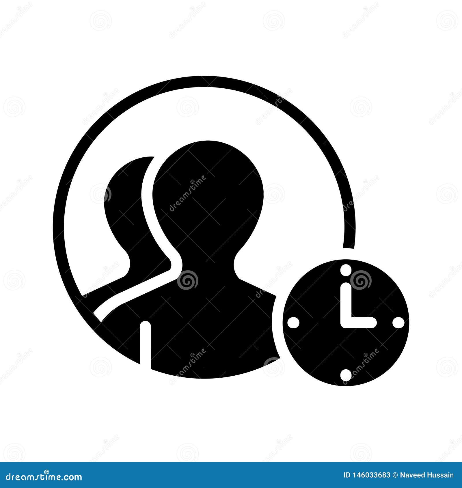 Users Deadline Glyph Flat Vector Icon Stock Vector