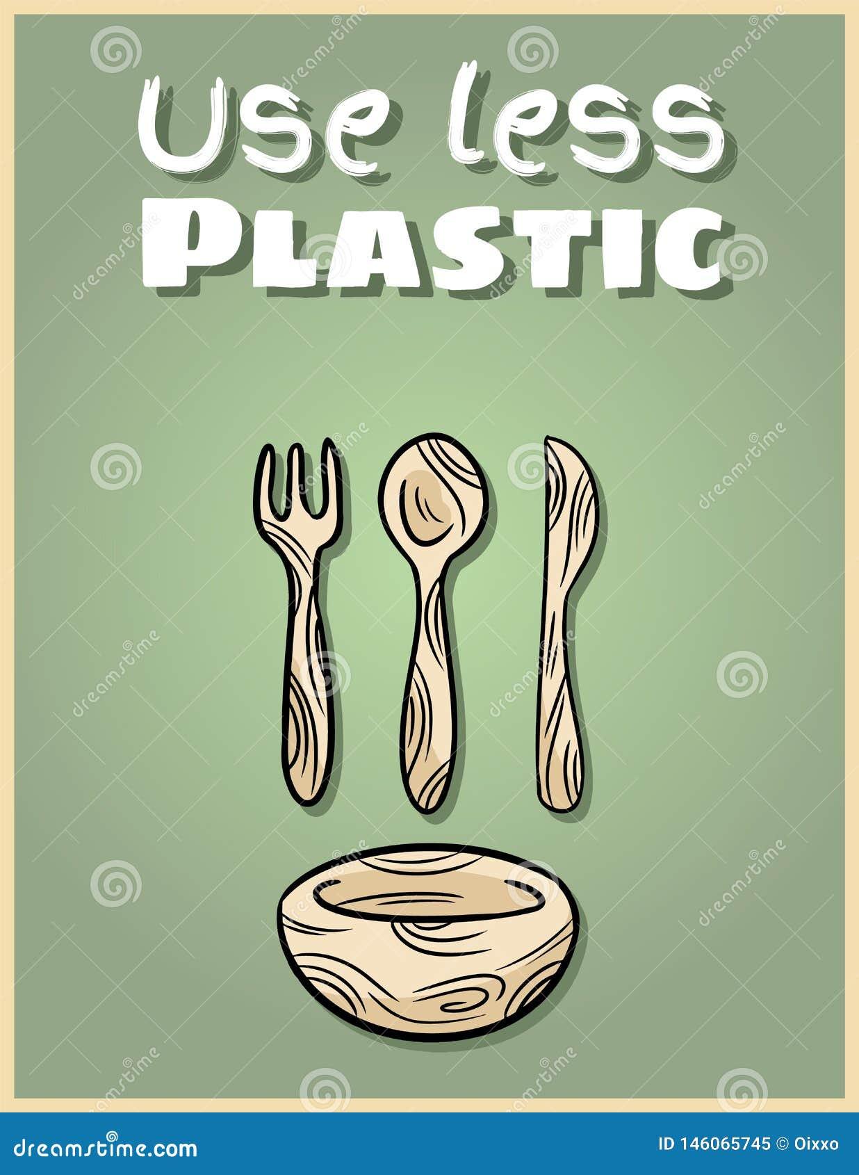 Usi il manifesto di bambù meno di plastica delle stoviglie Frase motivazionale Prodotto dello zero-spreco ed ecologico Va la vita