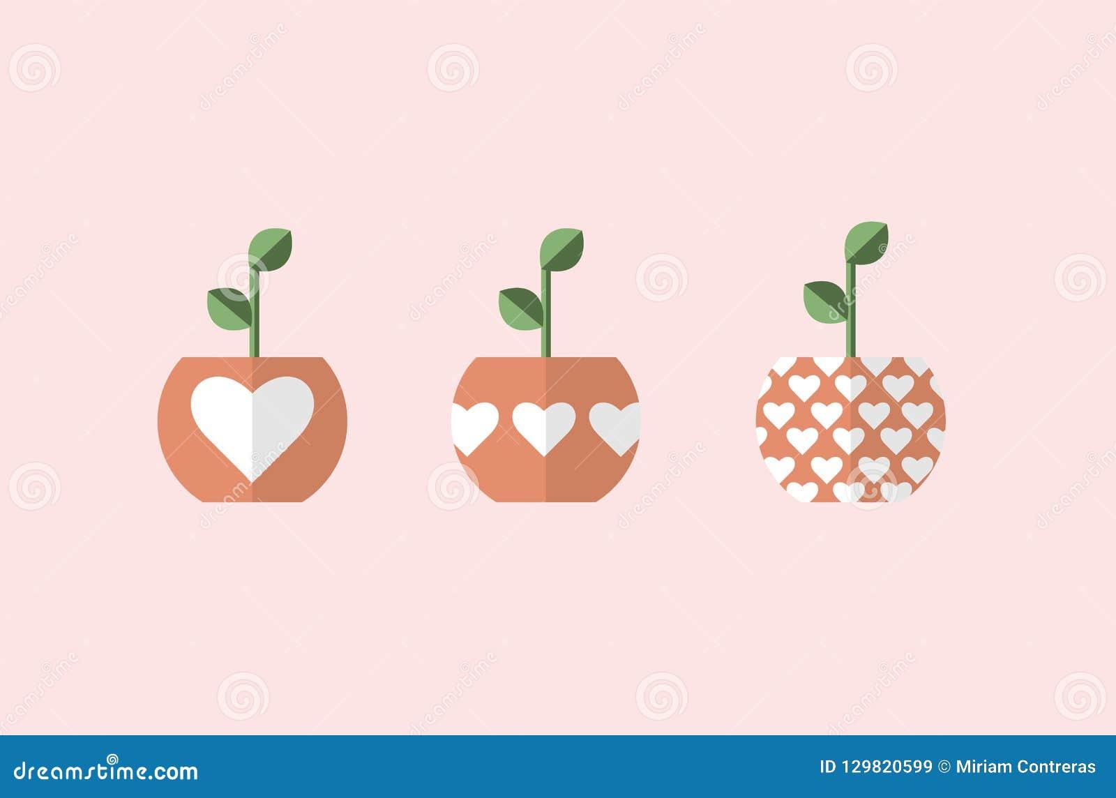 Usine dans des pots avec des coeurs 3 vecteurs différents, conceptions simples